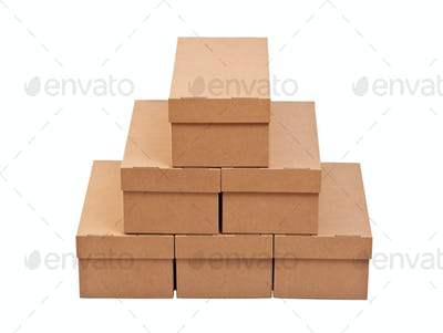 Stack of closed cardboard boxes
