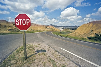 Stop sign in Badlands