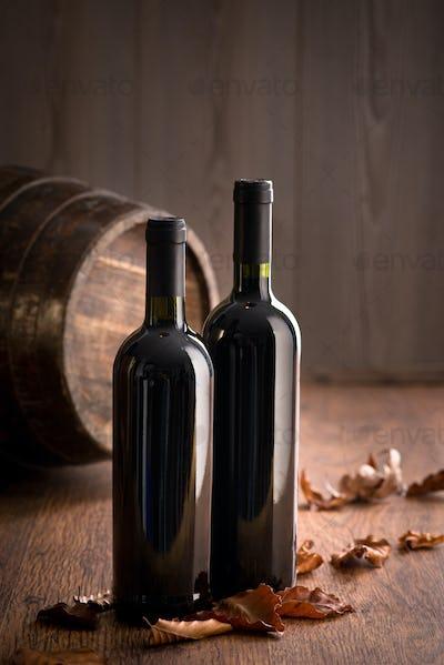 Wine bottles with fallen leaves