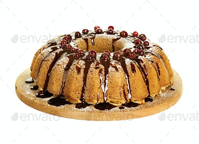 cake with apples and cranberries isolated on white background