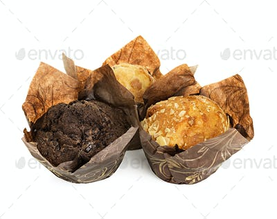 muffins packed in a wrapper isolated on white background