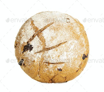 Homemade whole bread isolated on white background