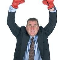Victorious businessman