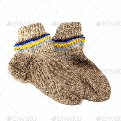 Woolen socks isolated on white