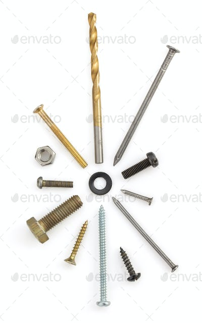 hardware tools on white