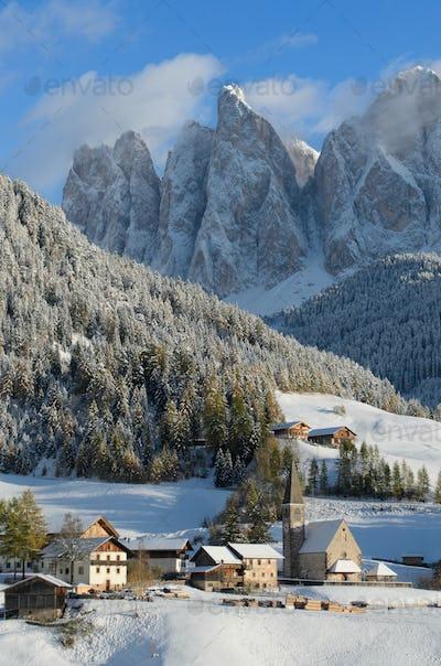 Dolomites village in winter