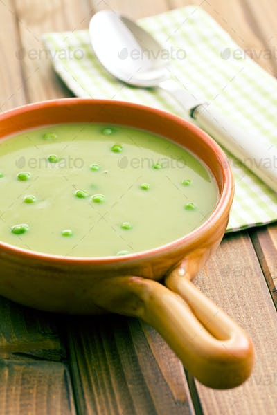 pea soup in ceramic bowl
