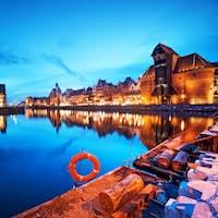 Gdansk, Poland old town, Motlawa river and famous crane, Polish Zuraw