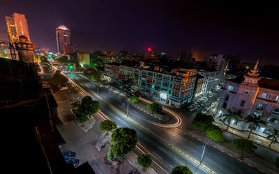 Night view of Yangon cityscape. Myanmar (Burma)