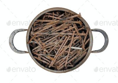 saucepan full of rusty nails