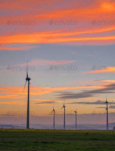 Wind engines and evening sky