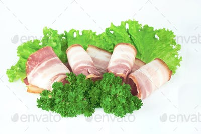 Tasty sliced bacon