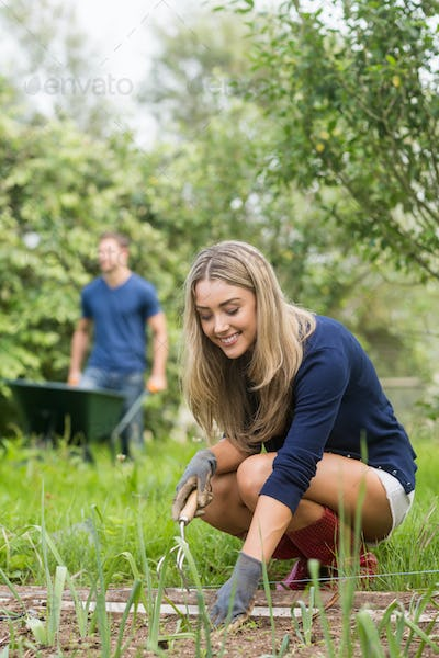 Cute couple gardening on sunny day at home in the garden