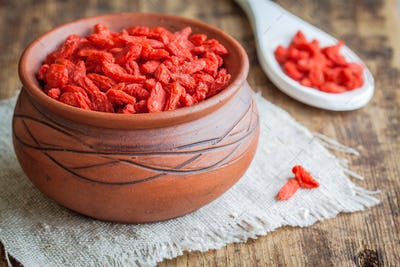 goji berries in a clay bowl
