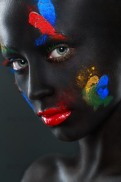 Portrait of a beautiful woman with black face