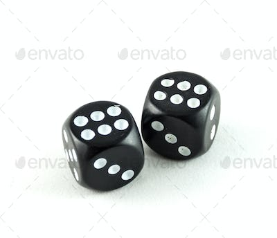 Two black casino cubes