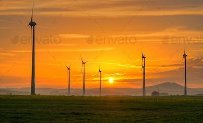 Sunset and wind engines