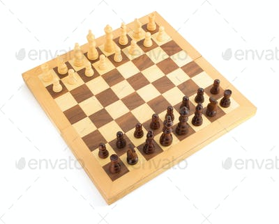 chess figures on board at white