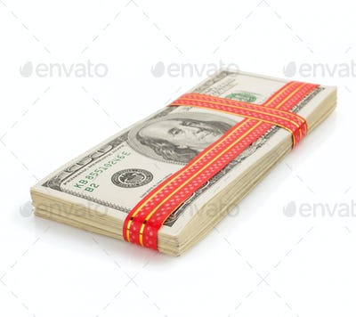 dollars money banknotes on white