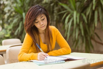 Young female college student doing homework in outdoor canteen