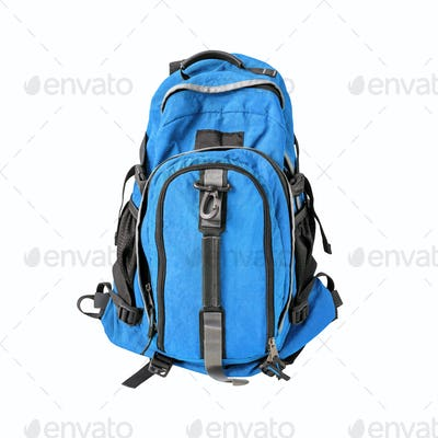 Blue backpack isolated