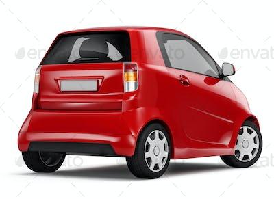 Back View Studio Shot Of Red Hybrid Electric Sedan Car