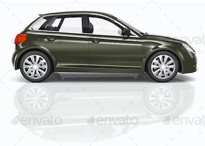Dark Green 3D Hatchback Car Illustration