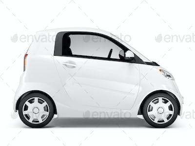 Side View Studio Shot Of White Mini Car