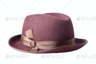female felt hat isolated on white background