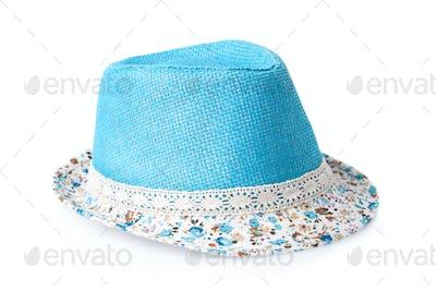 blue female summer straw hat isolated on white background