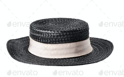black straw hat isolated on white background