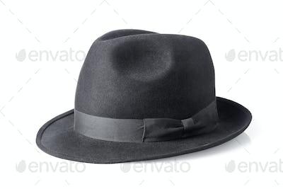 black male felt hat isolated on white background