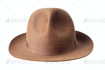 brown male felt hat isolated on white background