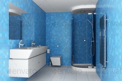 modern bathroom with blue tiles on wall and white equipment