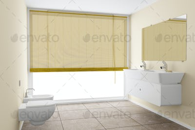 modern bathroom with beige walls and white equipment