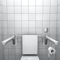 toilet for invalids with white tile on wall