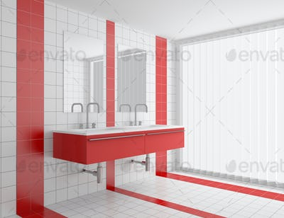 modern bathroom with red and white tiles on wall and floor
