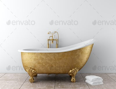 classic bathroom with old bathtub and white wall