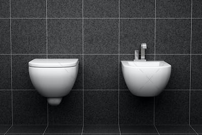modern toilet with black tiles on wall