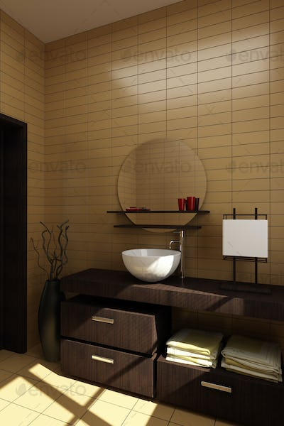 japanese style bathroom with brown tiles