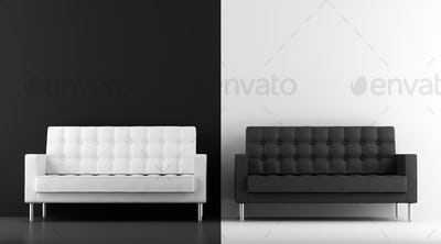 black and white couches in front of wall