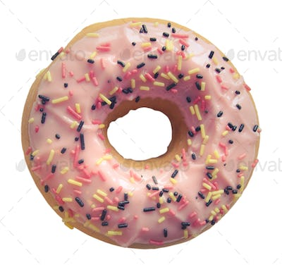 Isolated Pastel Pink Donut