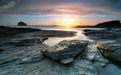 Sundown at Trebarwith Beach