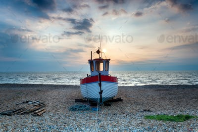 Fishing Boat on a Shingle Beach
