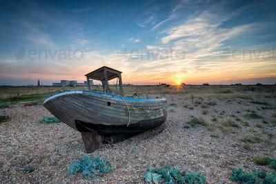 Old Wooden Boat at Sunset