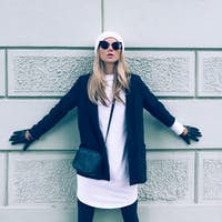 Blonde on the street. Urban fashion casual style