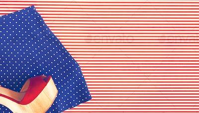 Polka Dot Shorts and Wedge Shoe on Stripes