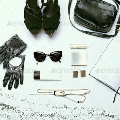 Trendy stylish youth black and white set against a white background