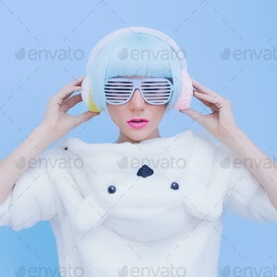 Teddy Bear Girl DJ on a blue background. crazy party. Club dance