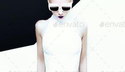 fashion glamor lady in stylish sunglasses Black and white mix